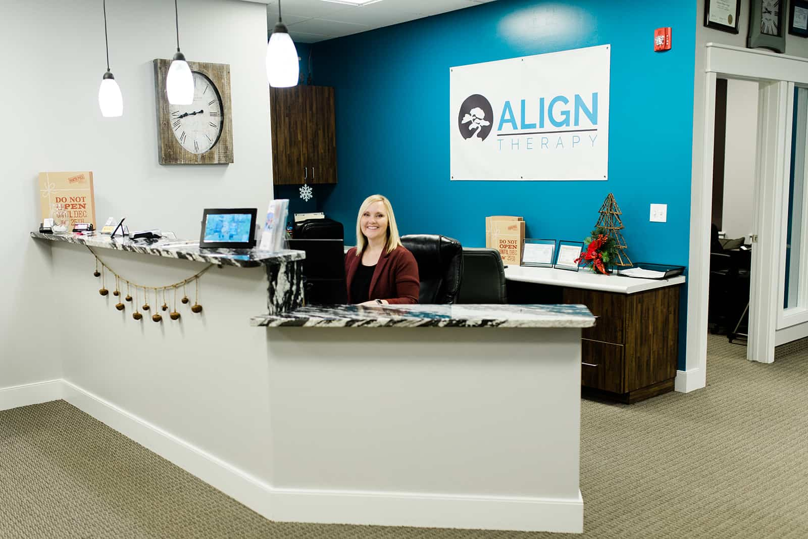 Reception area at Align Therapy in Lehi Utah